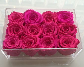12 Eternity Roses in a Lucite Tray