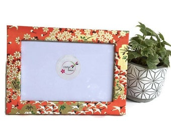 Photo frame under glass in natural wood for photo 10x15 covered with washi paper