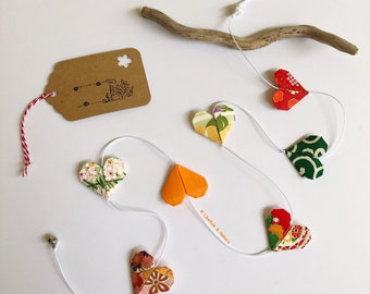 Garland with 7 orange and green origami paper hearts Bell