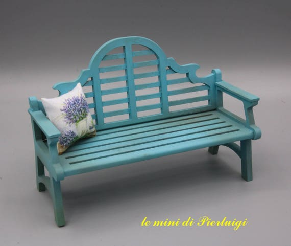 1:12 Scale Natural Finish Wooden Love Seat Dolls House Garden Bench Furniture