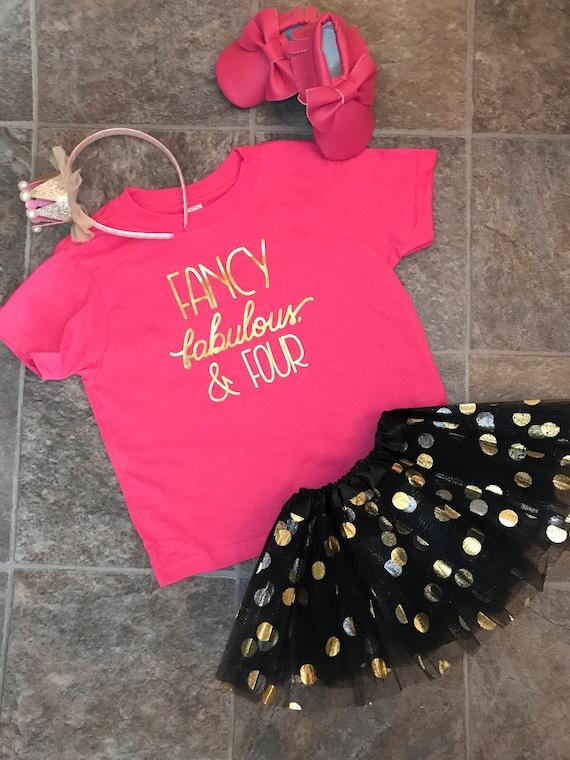 Toddler Shirt Birthday Girl Raglan 4th Birthday Fancy Fabulous and Four Fancy Fabulous and Four Raglan Fourth Birthday Girl Shirt