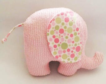 Pink Elephant, Pink, Toy Elephant, Baby Toy, Soft Homemade Toy, Repurposed Chenille Elephant, Stuffed Animal, Baby Shower Gift, Baby Gift