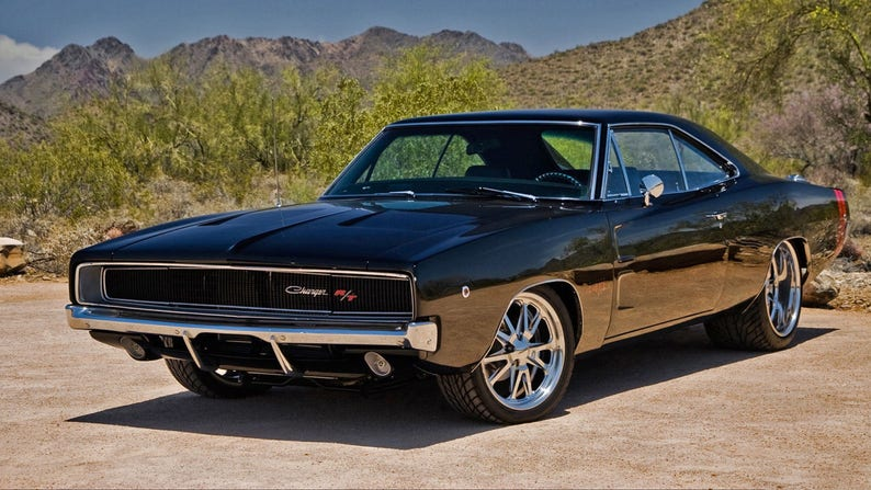 1970 Dodge Charger Black Angle 24 X 36 Inch Poster Sweet Etsy