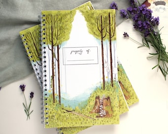 Enchanted Forest Spiral College Ruled Notebook