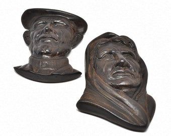 OLD MAN & WOMAN Sculptures by Irish Turf Crafts