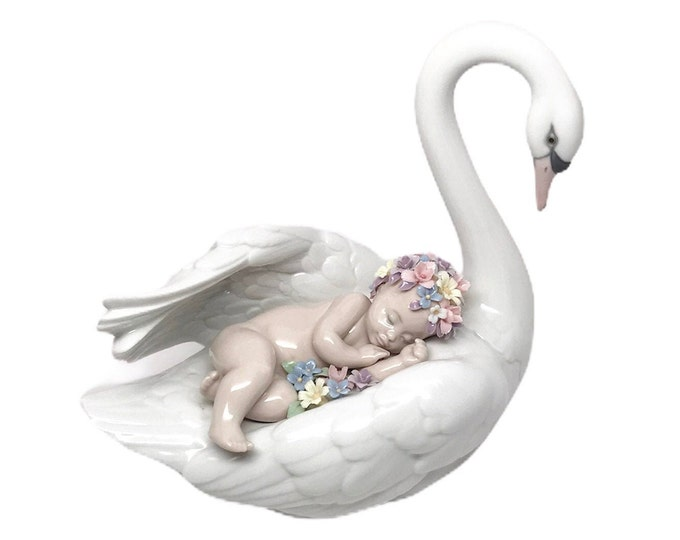 Featured listing image: LLADRO Drifting Through Dreamland Swan Figurine