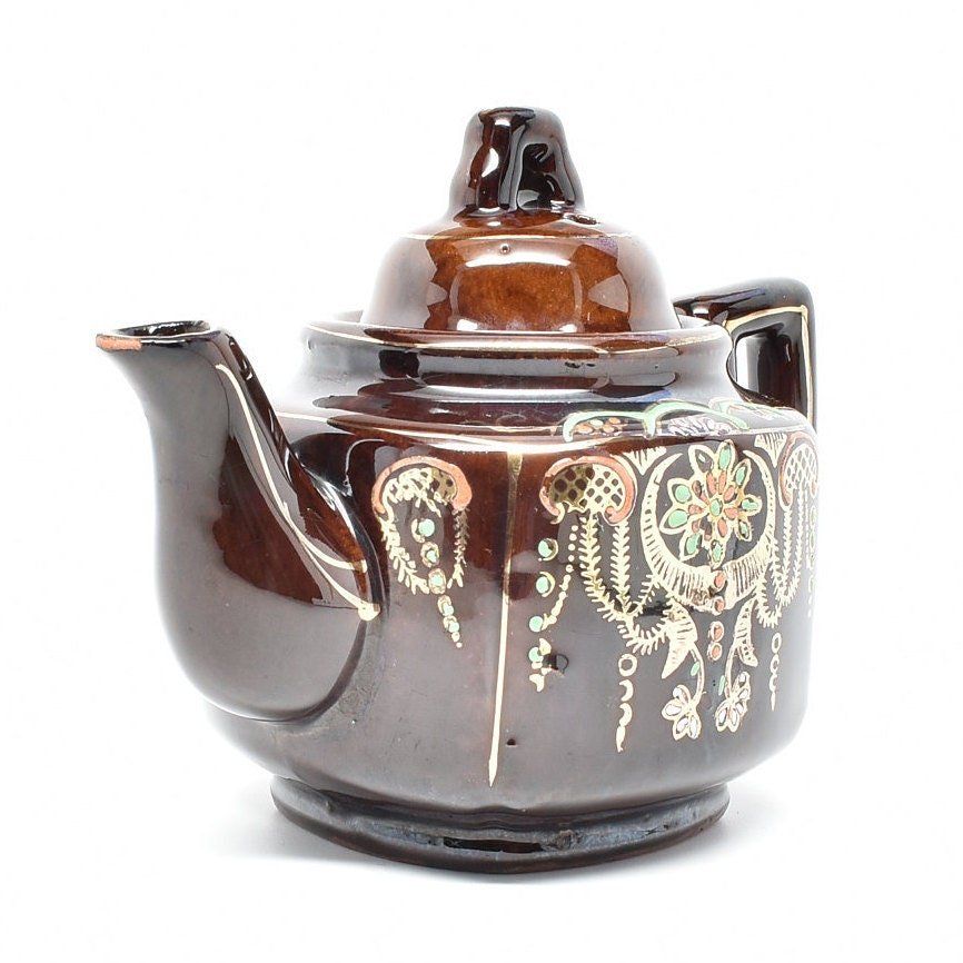 Brown Moriage Teapot Red-ware Japan Teapot with Moriage Design