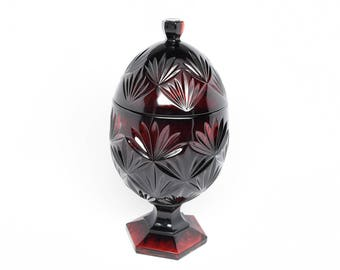 RUBY RED EGG Candy Dish