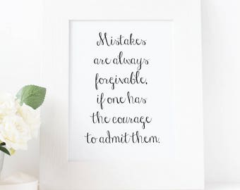 Mistakes Are Always Forgivable Printable Wall Art, Home Decor, Office Decor, Inspirational Motivational Quote, Print.