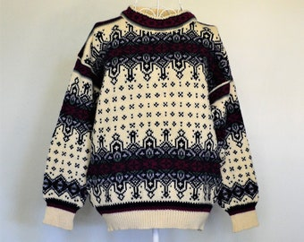 f157aa147e9 Vintage 80 s Ski Jumper-Dale of Norway Wool Sweater 1980 s-Nordic Ski  Pullover Size S Small Men s Unisex Boyfriend Sweater-Retro Scandi Knit