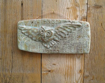 Owl in Flight - ceramic tile with hand drawn background, copper patina glaze.