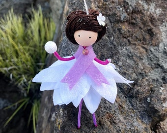 Handmade Fairy Doll Ornament, Flower Fairy Doll, Winter Bendy Fairy, Christmas Rag Doll, Fairy Gift Ideas, Fantasy, Ethnic Doll Ornament