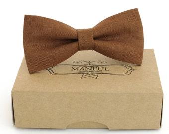 149a696dddf7 Brown bow tie, wedding necktie, linen necktie, groomsmen necktie, brown  necktie, brown bow tie for men