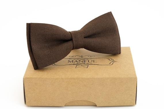 brown necktie Brown  bow tie linen necktie groomsmen necktie wedding necktie brown bow tie for men