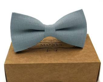 Dusty blue , linen bow tie, wedding necktie, linen necktie,  groomsmen necktie,  blue necktie, blue bow tie for men