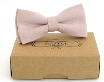 Dusty rose  bow tie, wedding bow tie, linen necktie,  groomsmen necktie,  dusty rose necktie, dusty rose bow tie for men