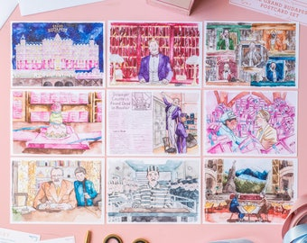 The Grand Budapest Hotel Postcard Set (1 Set = 9 Postcards) - Movie by Wes Anderson