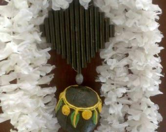 Handmade front door sign, Ecofriendly Welcome front door decor,Mango leaves and Marigold door hanger,Spiritual door hanging.