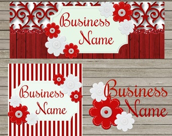 Red & White Business Facebook Set