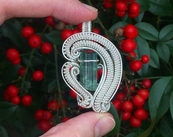 """Tourmaline Wire Wrapped Pendant - """"The Wave"""""""
