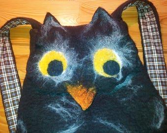 Backpack Owl, felted backpack, felt backpack