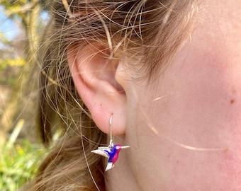 Hummingbird Earrings, Sterling Silver Earrings, Bird Earrings, Hummingbird, Silver Drop Earrings, Silver Bird Earrings