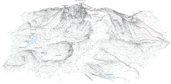 Katahdin, Baxter State Park, Maine (highest point). Line illustration  showing the Appalachian Trail and other ascent routes.