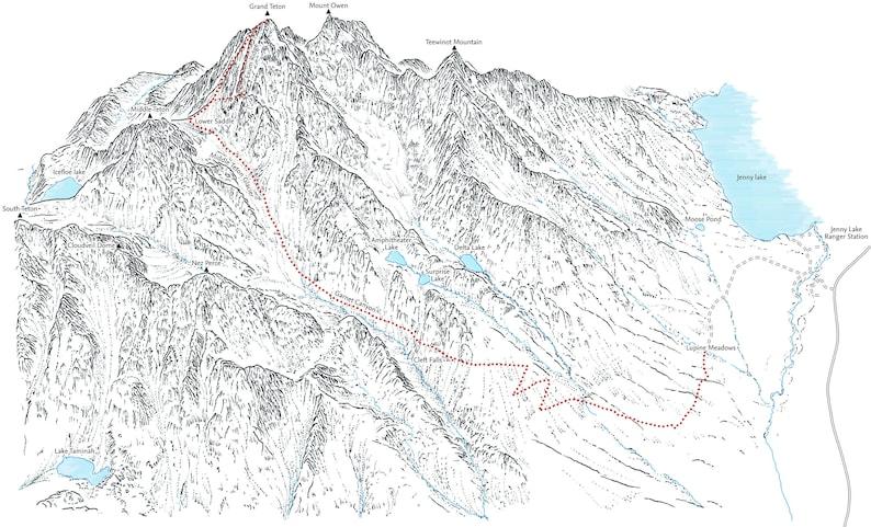 Grand Teton line illustration detailing the main ascent   Etsy