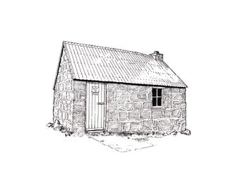 Corrour Bothy, Lairig Ghru, Cairngorms. Line illustration detailing the bothy in 1993.
