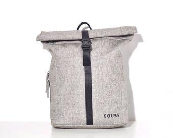GOUSE - No.2 (Grey Roll Top Backpack, Laptop Backpack, College rucksack, Unisex, Minimalist bag, Travel Backpack)