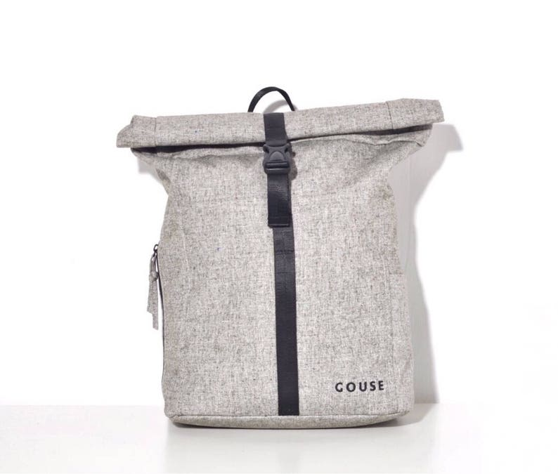 GOUSE  No.2 Grey Roll Top Backpack Laptop Backpack College image 0