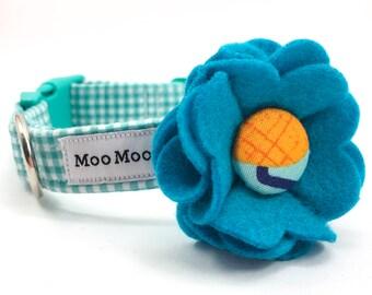 Calypso Fruity Friends Felt Dog Collar Flower with Handmade Button