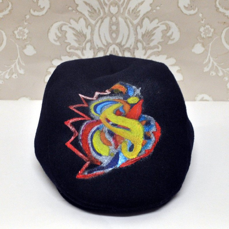 Trippy flat cap Moderation Is Key Trippy Psychedelic flat  ed3a754ccf8