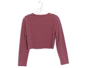 8a5c9a8b6 90s crop top striped shirt cropped shirt long sleeve tshirt tee preppy  delias 90s grunge surf skater 90s clueless 90s clothing 90s does 70s