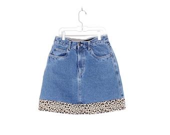 90s y2k high waisted denim skirt with leopard trim punk grunge skater skirt jean skirt high waisted skirt animal print mom jeans mini skirt