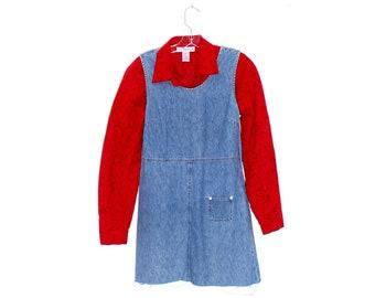 denim fray hem mini shift dress xs petite y2k