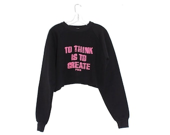 87b3d44760c 80s cropped SWEATSHIRT vintage crop top oversized fit pullover crewneck  jumper black w neon pink THINK CREATE inspirational quote vintage
