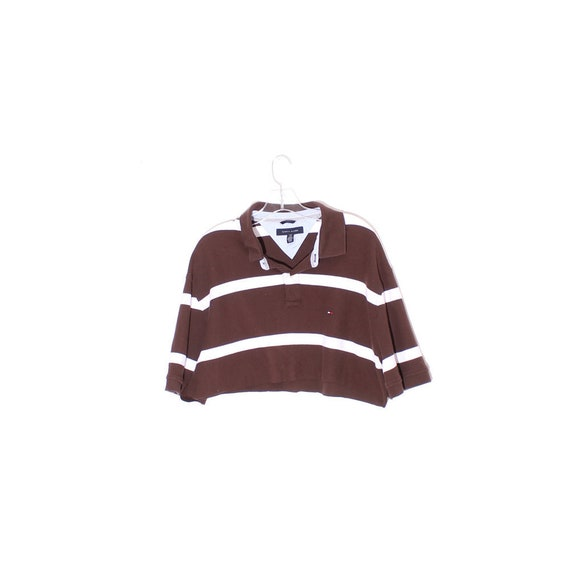 vintage Tommy Hilfiger 90s crop top cutest chocolate brown striped polo cropped cotton shirt short sleeves 90s clothing 90s grunge raw hem