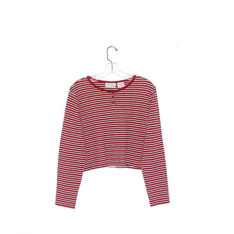90s crop top striped shirt thermal cropped shirt long sleeve tshirt preppy delias 90s grunge surf skater 90s clothing y2k cute cyber egirl