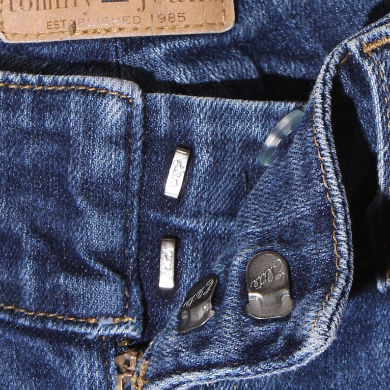 adorable TOMMY HILFIGER JEANS tommy jeans dark wash perfectly faded skinny fit distressed jeans boot cut jeans kick flare jeans 90s tommy
