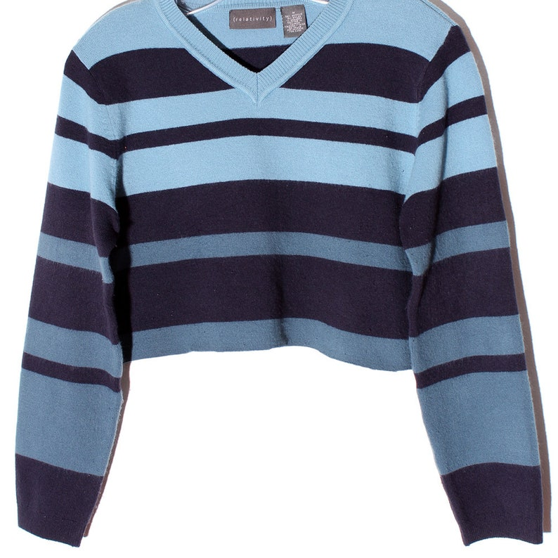 vintage striped sweater crop top BLUE PANTONE OMBRE striped sweater super soft knit sweater cropped sweater jumper custom cropped raw hem