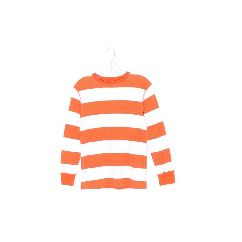 bdd423b090190 vintage CREAMSICLE striped thermal wide stripes preppy sporty 90s skater  90s clothing 90s grunge long sleeve shirt waffle texture thermal