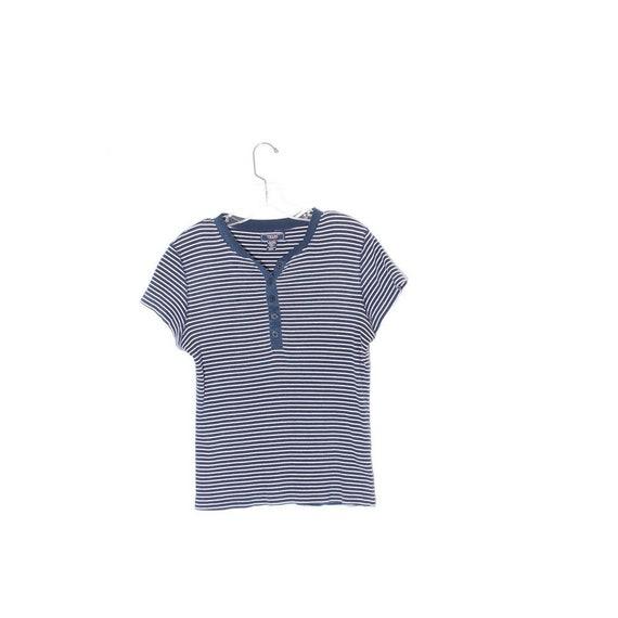 vintage CHAPS v neck shirt striped navy blue white