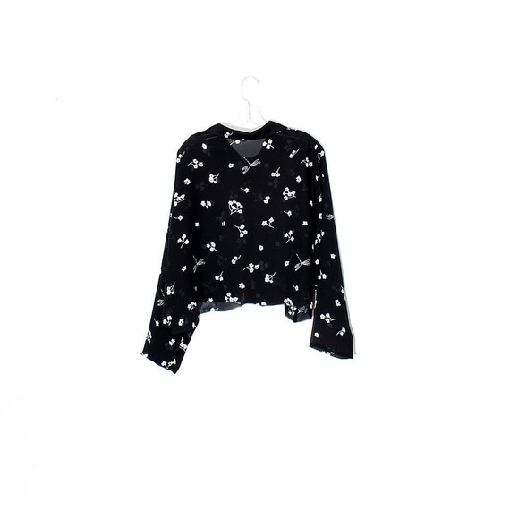 90/'s retro floral sheer festival blouse shirt top