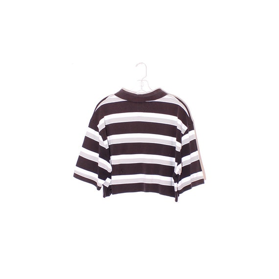 vintage Tommy Hilfiger 90s crop top cutest striped polo cropped cotton shirt short sleeves 90s clothing 90s grunge raw hem oversized shirt