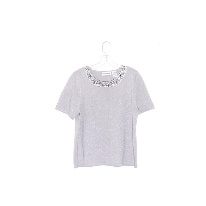 boho knit shirt BEADED BUTTON NECKLINE silver metallic knit sweater tee tshirt t shirt short sleeve knit shirt womens shirt wearable art top