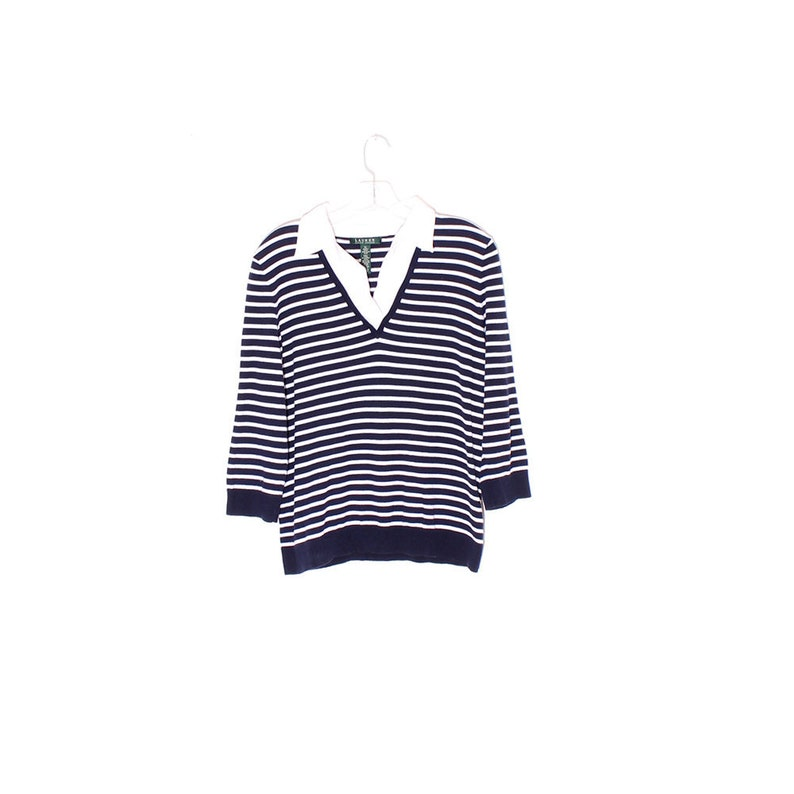 42898fef5 Vintage navy RALPH LAUREN shirt striped quarter sleeve knit