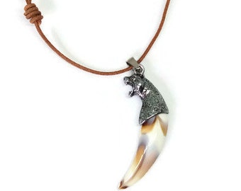 Tooth Pendant, Tooth Jewelry, Tooth Necklace, Bone Tooth Pendant, Fang Necklace, Tooth Tribal Amulet, Horn Pendant Necklace, Gift For Him