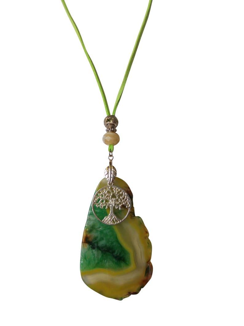 Green Stone Pendant Raw Quartz Natural Agate Slice Necklace