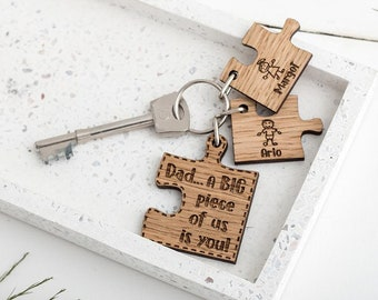 Jigsaw Puzzle Keyring For Dad From Kids Fathers Day Gift Stick Figure Laser Engraved Wooden Personalised Keychain Birthday
